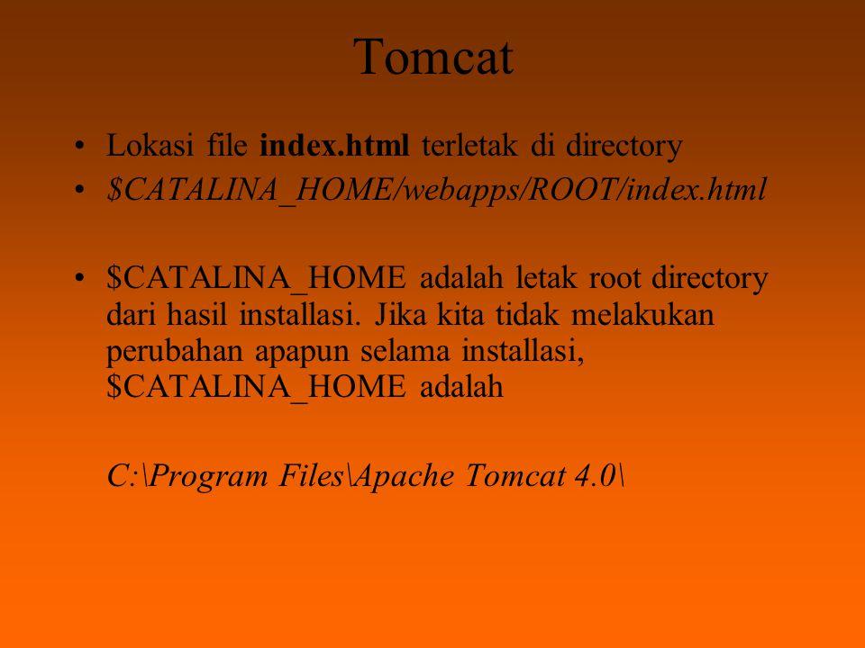 WEB di Tomcat Buatlah file html sederhana, sebagai contoh adalah file yusuf.html sebagai berikut: Yusuf Kurnia Badriawan Yusuf Kurnia Badriawan