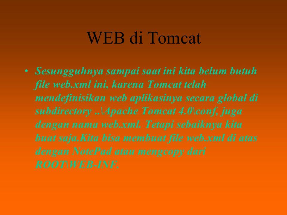 WEB di Tomcat di dalam subdirektori risanuri ($CATALINA_HOME/webapps/risanuri, atau C:\Program Files\Apache Tomcat 4.0\webapps\risanuri) akan terdapat file-file dan folder seperti di bawah ini:..\test\hello.html \WEB-INF\web.xml