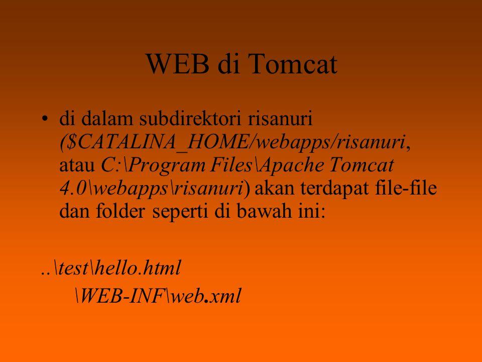 WEB di Tomcat Kita jalankan Tomcat (Start Tomcat), kemudian ketikkan alamat berikut pada Internet Explorer (atau Netscape) http://localhost:8080/test/hello.html