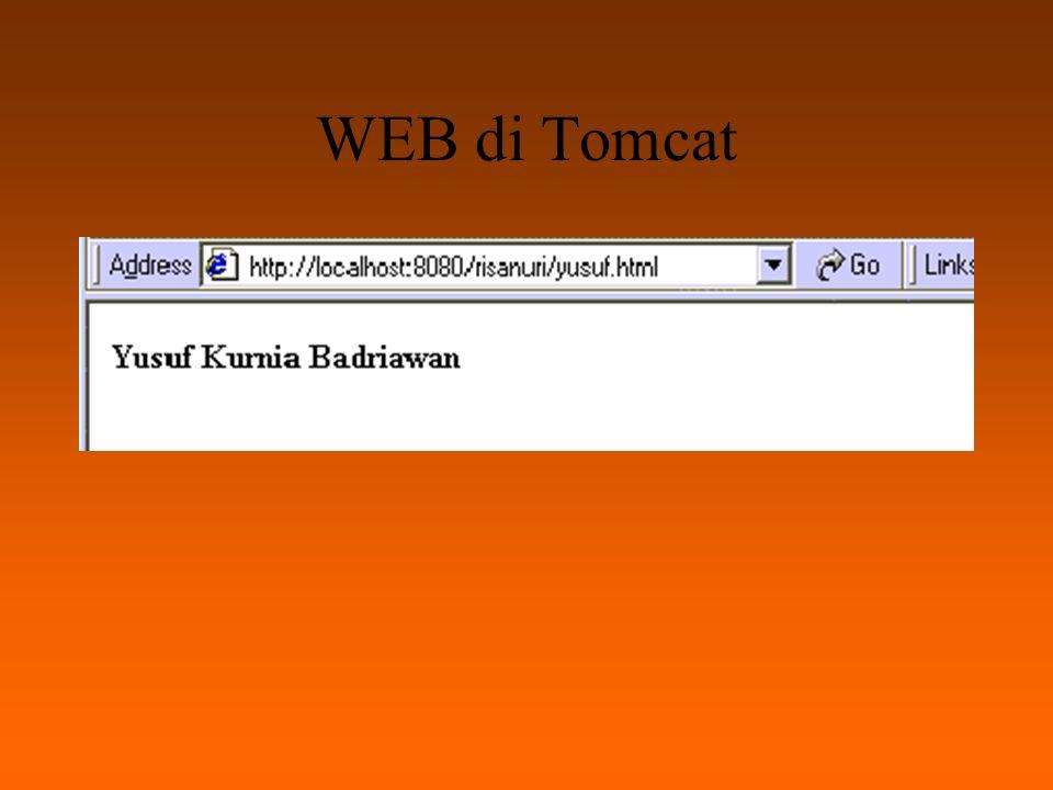 Servlet sederhana Sebelumnya, agar servlet kita bisa di-compile oleh Tomcat, kita harus men-set CLASSPATH pada file autoexec.bat.