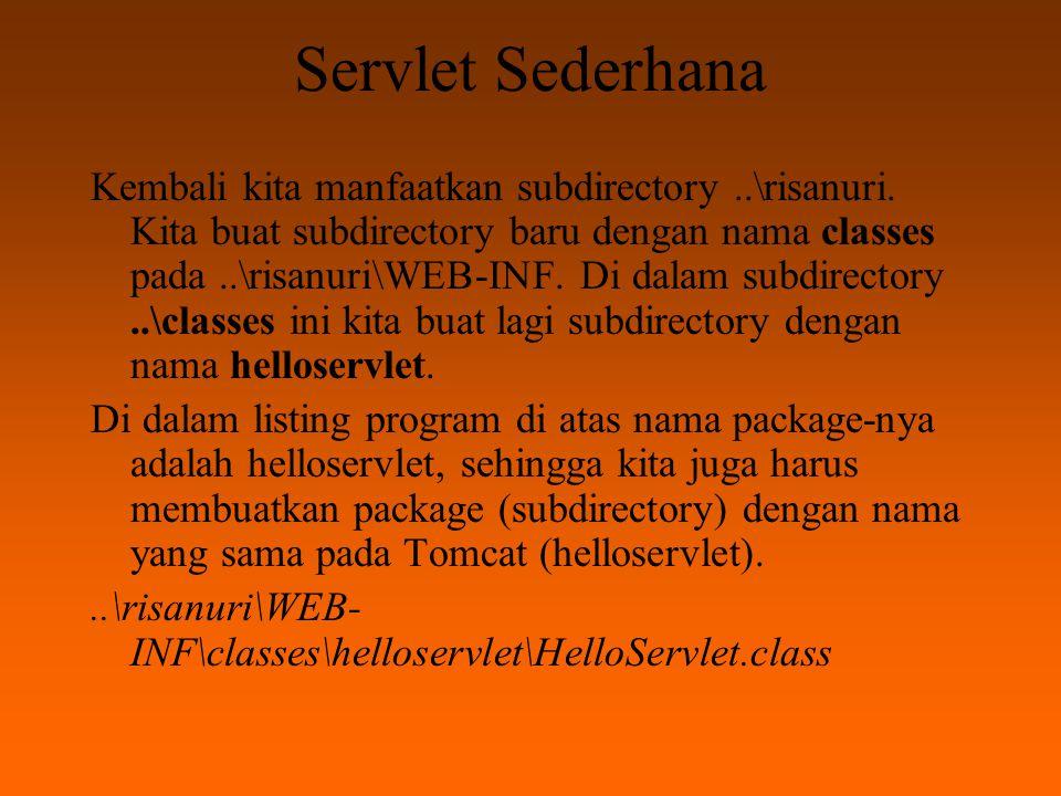 Servlet Sederhana Setelah HelloServlet.class diletakkan seperti di atas, kita dapat mengaksesnya dengan alamat URL: http://localhost:8080/risanuri/servlet/helloservlet.HelloServlet