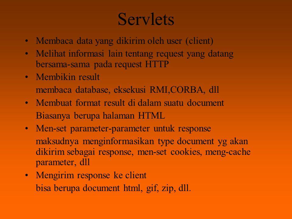 Kelebihan Servlets Efficient JVM selalu siap sedia menjalankan setiap request yang datang dengan threadnya Convenient Dijalankan di Java.