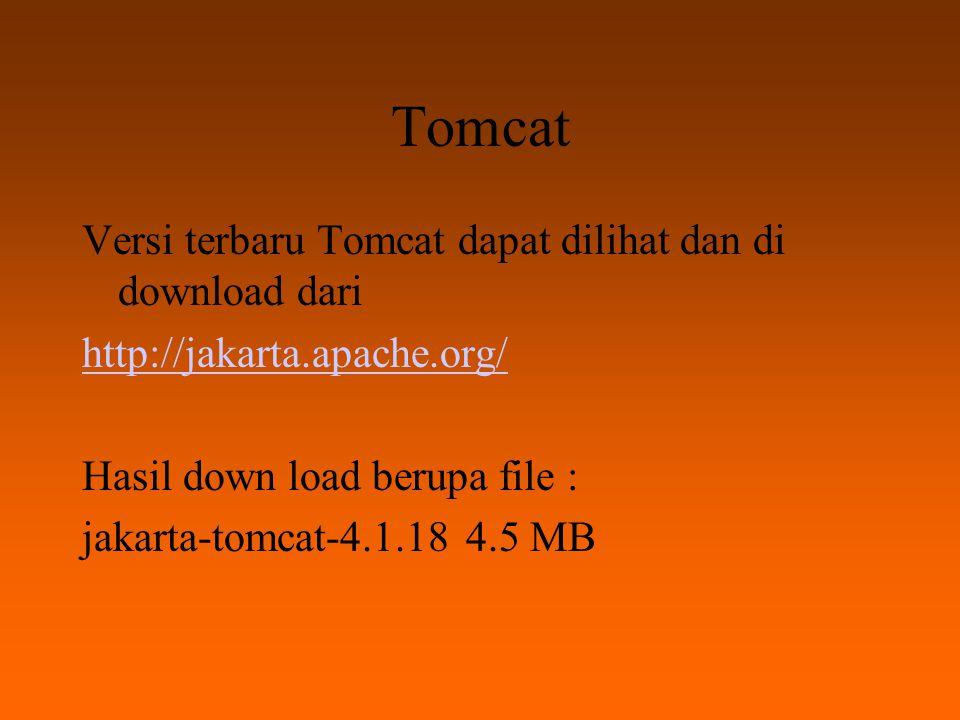 Tomcat Instalasi : Just Click It Hasil Instalasi : jika tidak ada perubahan selama instalasi akan berada di C:\Program Files\Apache Tomcat 4.0.4 File root terletak di...\Apache Tomcat 4.0.4\Webapps\ROOT