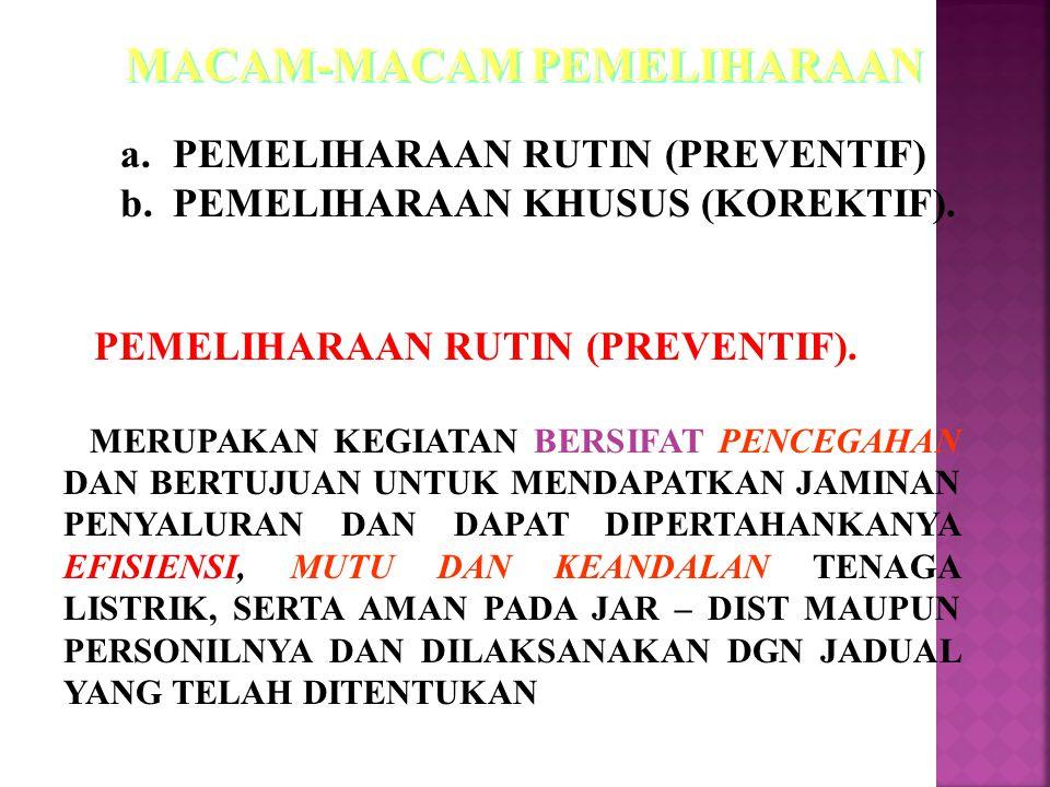 a.PEMELIHARAAN RUTIN (PREVENTIF) b.PEMELIHARAAN KHUSUS (KOREKTIF).