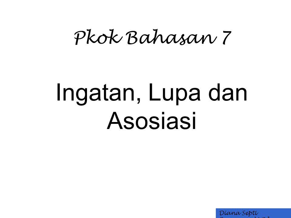 Pkok Bahasan 7 Ingatan, Lupa dan Asosiasi Diana Septi Purnama, M.Pd