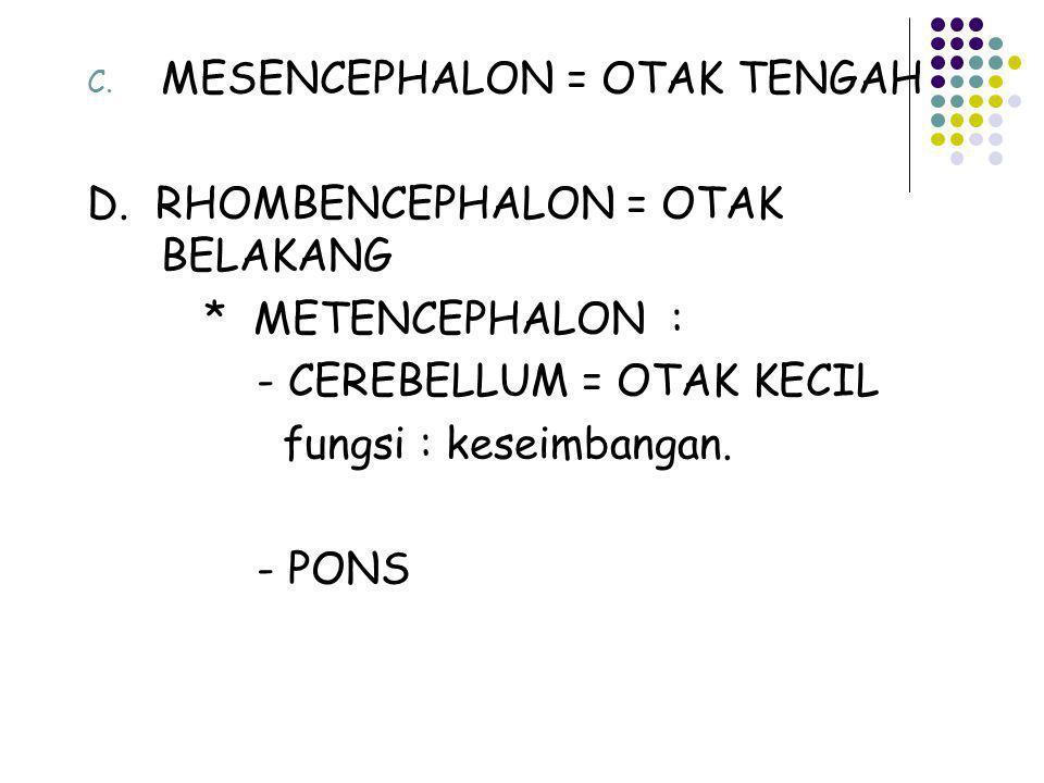 C. MESENCEPHALON = OTAK TENGAH D. RHOMBENCEPHALON = OTAK BELAKANG * METENCEPHALON : - CEREBELLUM = OTAK KECIL fungsi : keseimbangan. - PONS