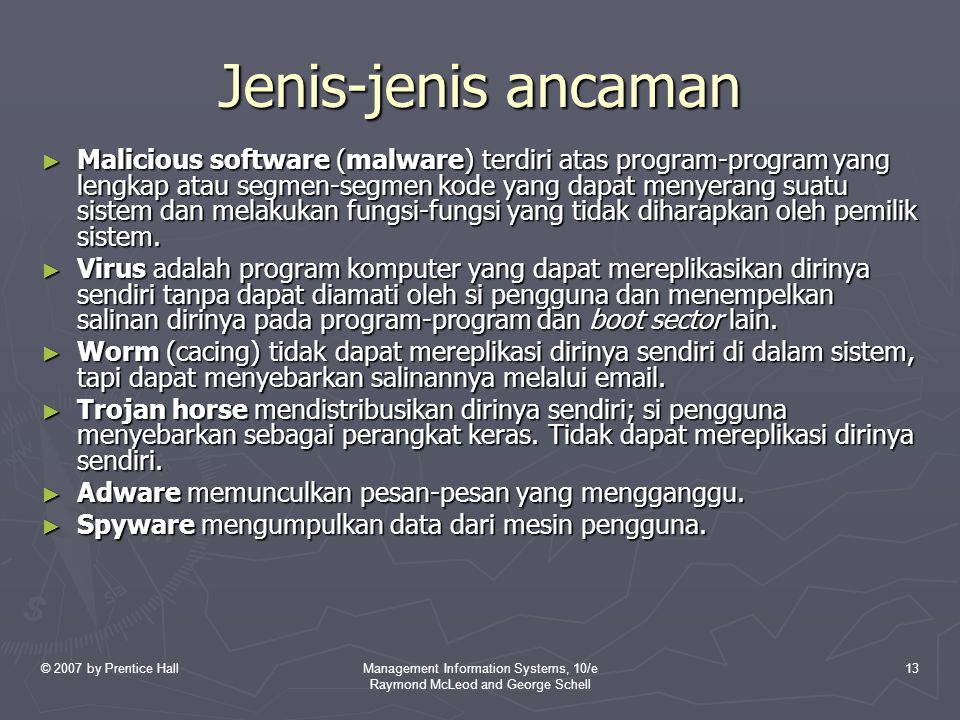 © 2007 by Prentice HallManagement Information Systems, 10/e Raymond McLeod and George Schell 13 Jenis-jenis ancaman ► Malicious software (malware) ter