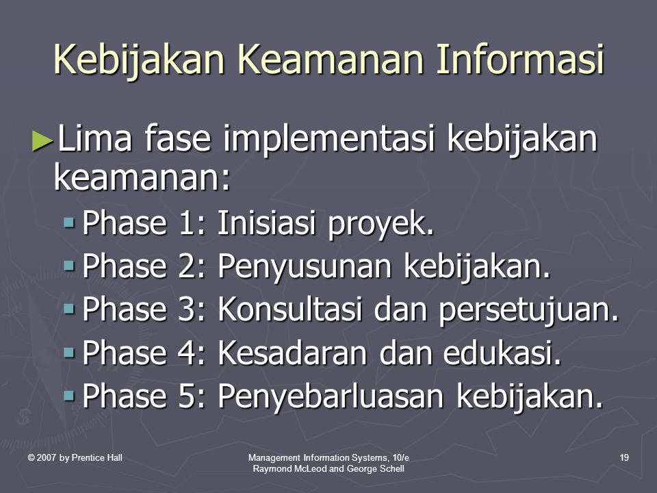 © 2007 by Prentice HallManagement Information Systems, 10/e Raymond McLeod and George Schell 19 Kebijakan Keamanan Informasi ► Lima fase implementasi