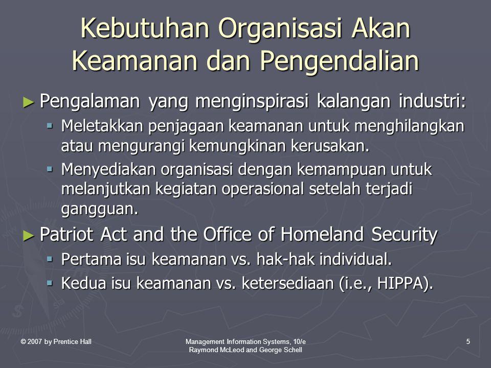 © 2007 by Prentice HallManagement Information Systems, 10/e Raymond McLeod and George Schell 5 Kebutuhan Organisasi Akan Keamanan dan Pengendalian ► P