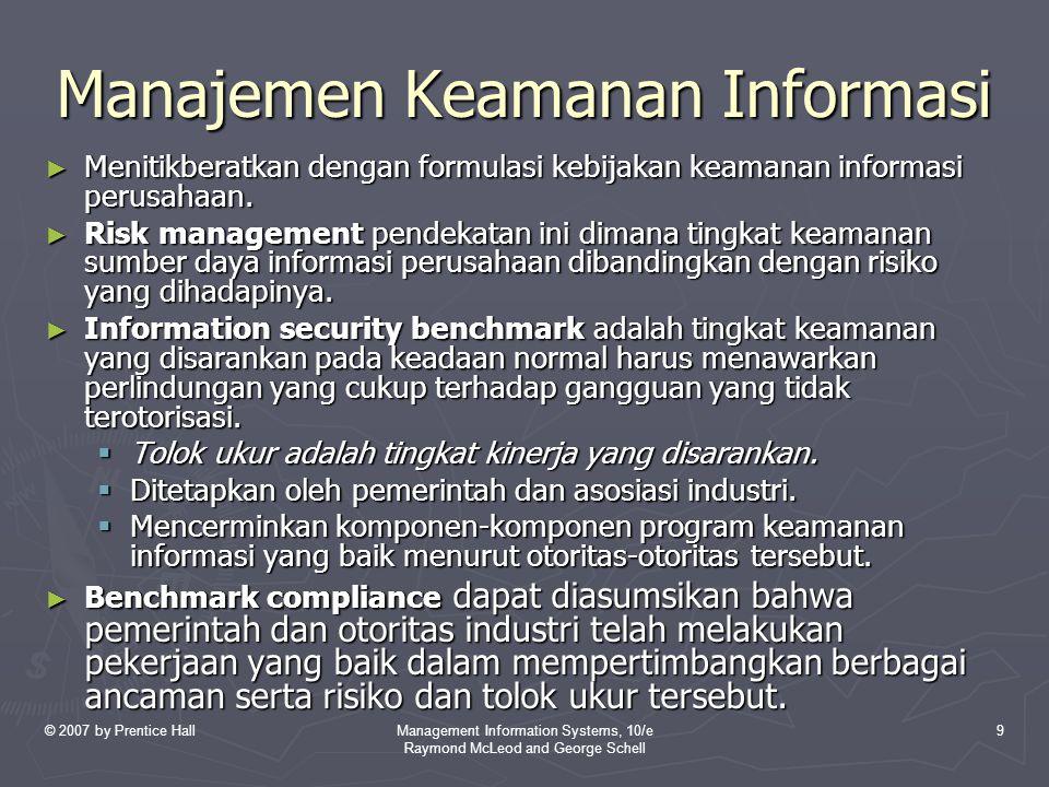 © 2007 by Prentice HallManagement Information Systems, 10/e Raymond McLeod and George Schell 9 Manajemen Keamanan Informasi ► Menitikberatkan dengan f