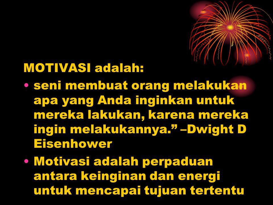 """MOTIVASI adalah: seni membuat orang melakukan apa yang Anda inginkan untuk mereka lakukan, karena mereka ingin melakukannya."""" –Dwight D Eisenhower Mot"""