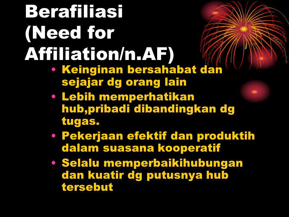 Berafiliasi (Need for Affiliation/n.AF) Keinginan bersahabat dan sejajar dg orang lain Lebih memperhatikan hub,pribadi dibandingkan dg tugas. Pekerjaa