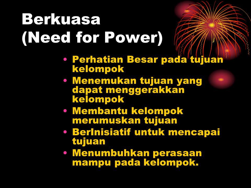 Berkuasa (Need for Power) Perhatian Besar pada tujuan kelompok Menemukan tujuan yang dapat menggerakkan kelompok Membantu kelompok merumuskan tujuan B