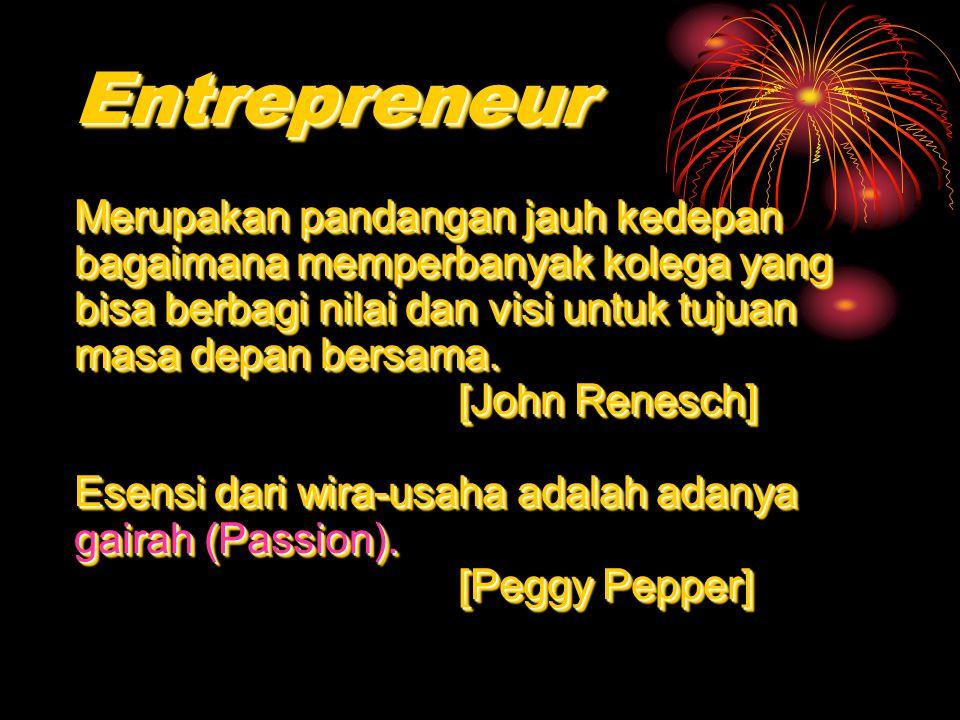 Pribadi / Karakter Entrepreneur Well organized Strong sense of purpose SpontaneousSensitive Self confident FunPersistentDrivenEnthusiastic Pengelola yang baik Rasa memiliki tujuan yang kuat SpontanitasPeka Percaya diri MenyenangkanTangguhMengendalikanAntusias