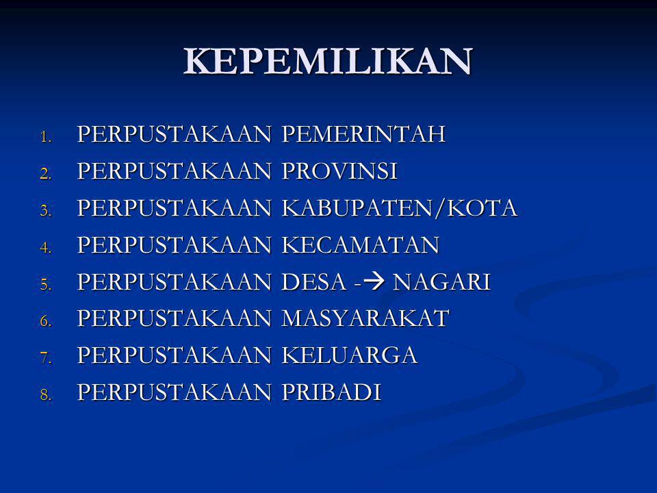 KEPEMILIKAN 1. PERPUSTAKAAN PEMERINTAH 2. PERPUSTAKAAN PROVINSI 3. PERPUSTAKAAN KABUPATEN/KOTA 4. PERPUSTAKAAN KECAMATAN 5. PERPUSTAKAAN DESA -  NAGA