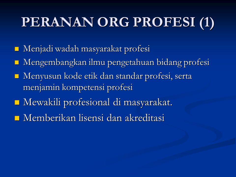 PERANAN ORG PROFESI (1) Menjadi wadah masyarakat profesi Menjadi wadah masyarakat profesi Mengembangkan ilmu pengetahuan bidang profesi Mengembangkan