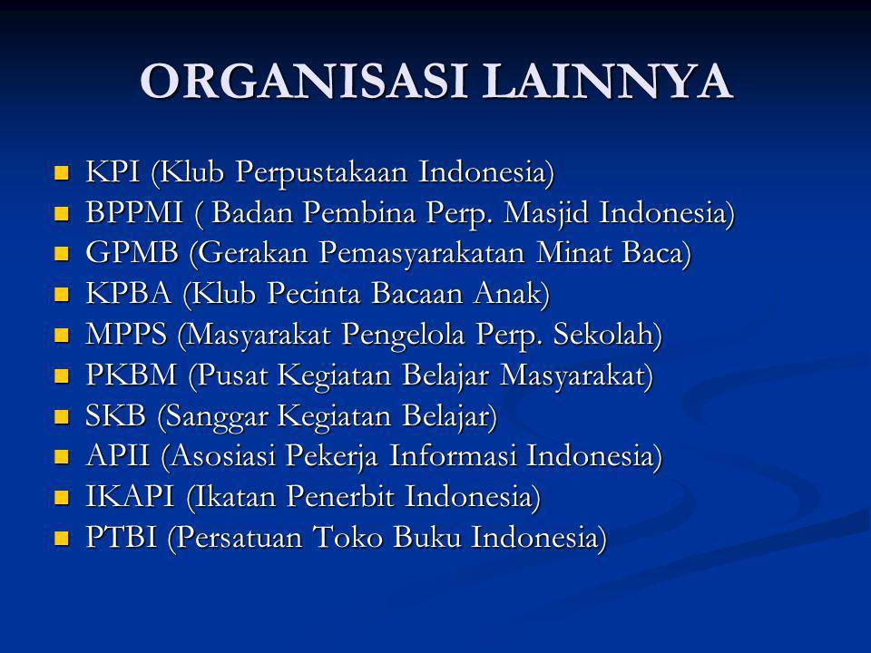ORGANISASI LAINNYA KPI (Klub Perpustakaan Indonesia) KPI (Klub Perpustakaan Indonesia) BPPMI ( Badan Pembina Perp. Masjid Indonesia) BPPMI ( Badan Pem