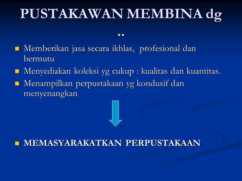 PUSTAKAWAN MEMBINA dg.. Memberikan jasa secara ikhlas, profesional dan bermutu Memberikan jasa secara ikhlas, profesional dan bermutu Menyediakan kole