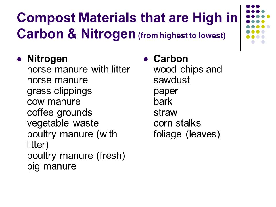 Compost Materials that are High in Carbon & Nitrogen (from highest to lowest) Nitrogen horse manure with litter horse manure grass clippings cow manure coffee grounds vegetable waste poultry manure (with litter) poultry manure (fresh) pig manure Carbon wood chips and sawdust paper bark straw corn stalks foliage (leaves)