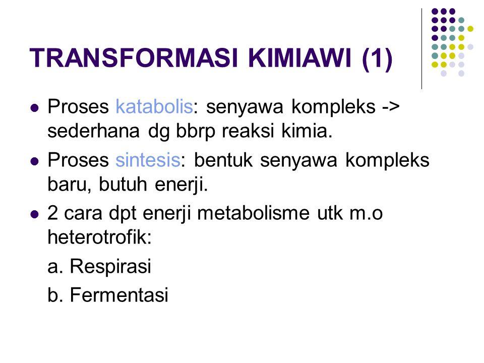 TRANSFORMASI KIMIAWI (1) Proses katabolis: senyawa kompleks -> sederhana dg bbrp reaksi kimia. Proses sintesis: bentuk senyawa kompleks baru, butuh en