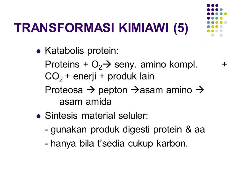 TRANSFORMASI KIMIAWI (5) Katabolis protein: Proteins + O 2  seny. amino kompl. + CO 2 + enerji + produk lain Proteosa  pepton  asam amino  asam am