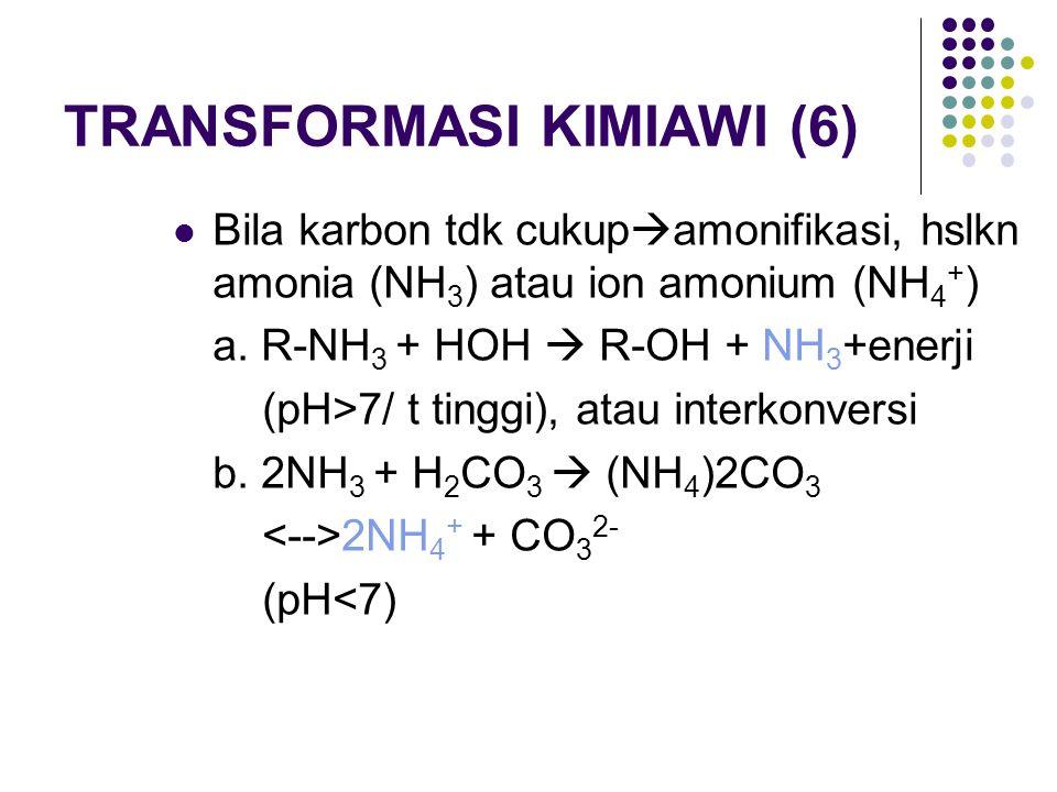 TRANSFORMASI KIMIAWI (6) Bila karbon tdk cukup  amonifikasi, hslkn amonia (NH 3 ) atau ion amonium (NH 4 + ) a. R-NH 3 + HOH  R-OH + NH 3 +enerji (p