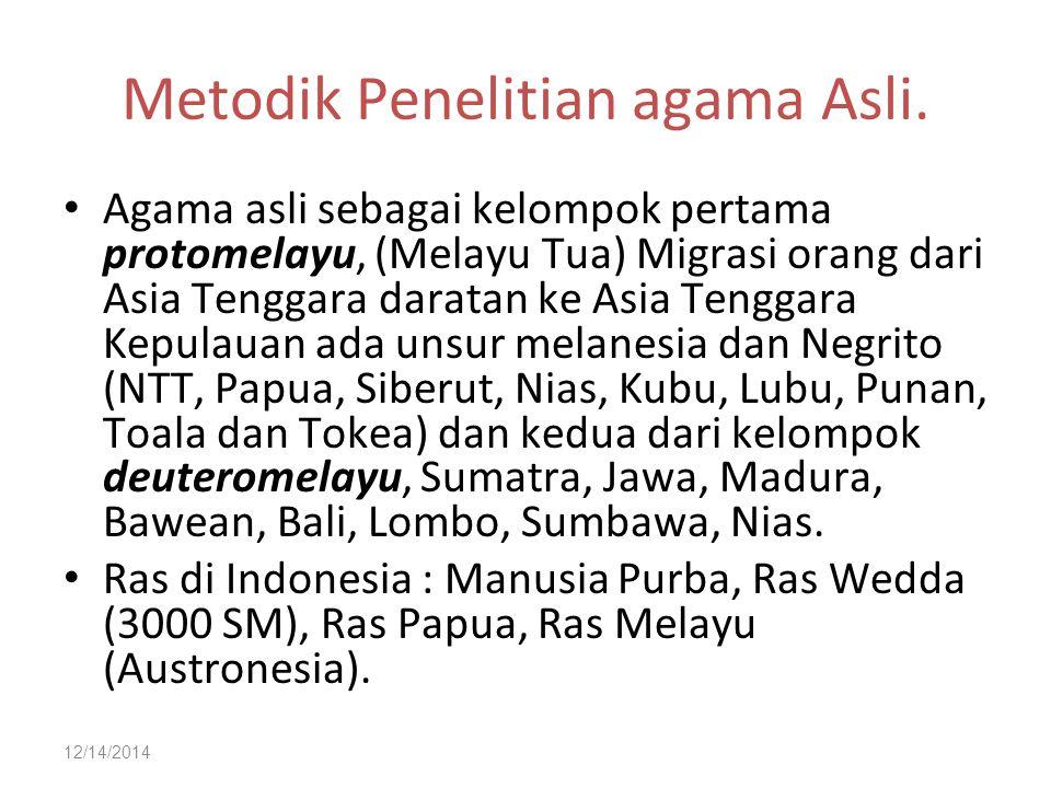 12/14/2014 Metodik Penelitian agama Asli. Agama asli sebagai kelompok pertama protomelayu, (Melayu Tua) Migrasi orang dari Asia Tenggara daratan ke As