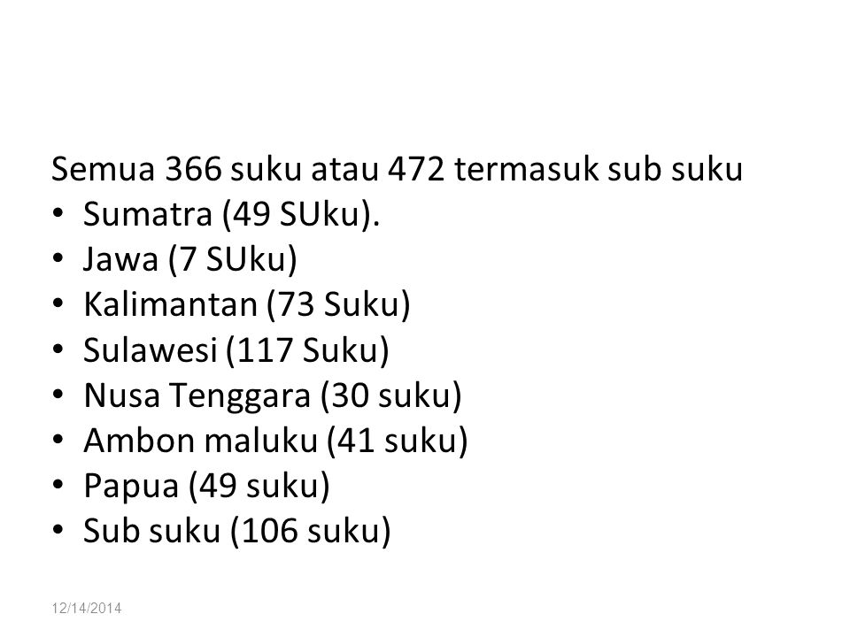 12/14/2014 Semua 366 suku atau 472 termasuk sub suku Sumatra (49 SUku). Jawa (7 SUku) Kalimantan (73 Suku) Sulawesi (117 Suku) Nusa Tenggara (30 suku)