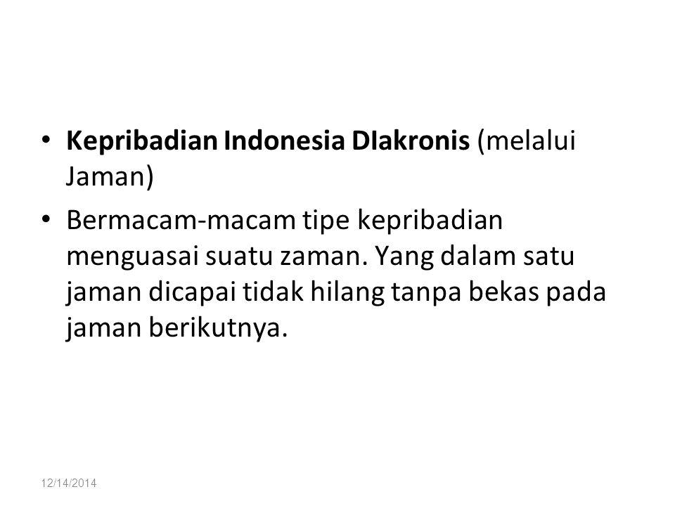 12/14/2014 Kepribadian Indonesia DIakronis (melalui Jaman) Bermacam-macam tipe kepribadian menguasai suatu zaman. Yang dalam satu jaman dicapai tidak