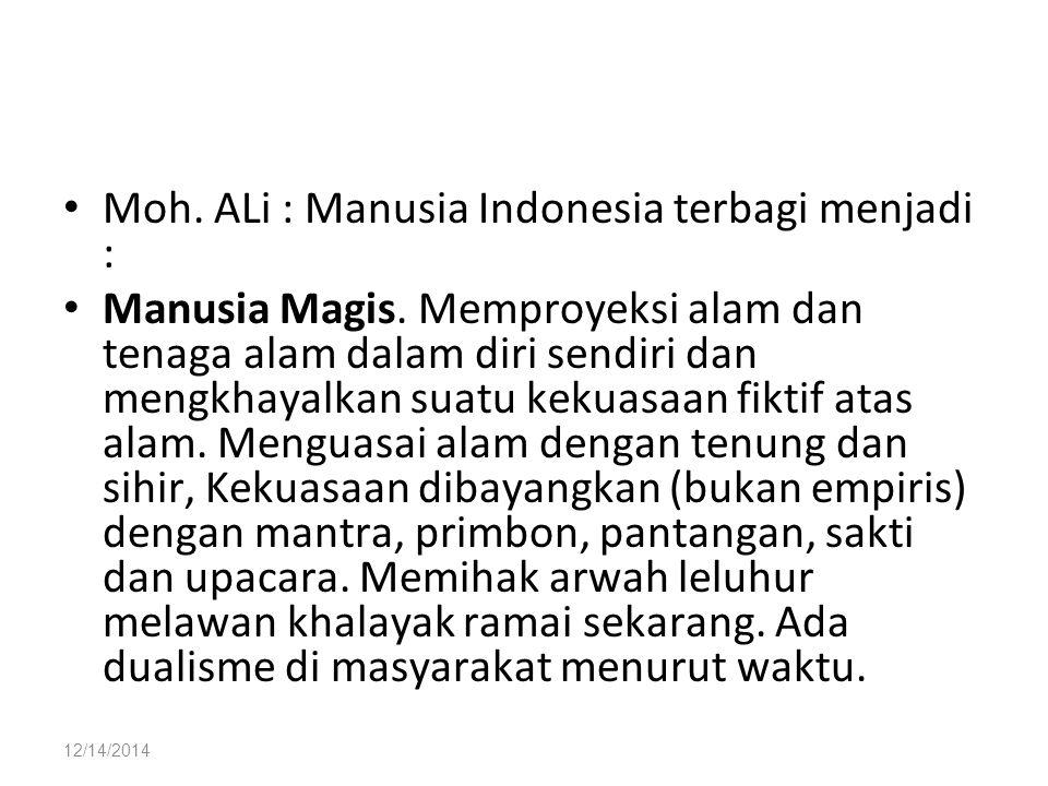 12/14/2014 Moh. ALi : Manusia Indonesia terbagi menjadi : Manusia Magis. Memproyeksi alam dan tenaga alam dalam diri sendiri dan mengkhayalkan suatu k