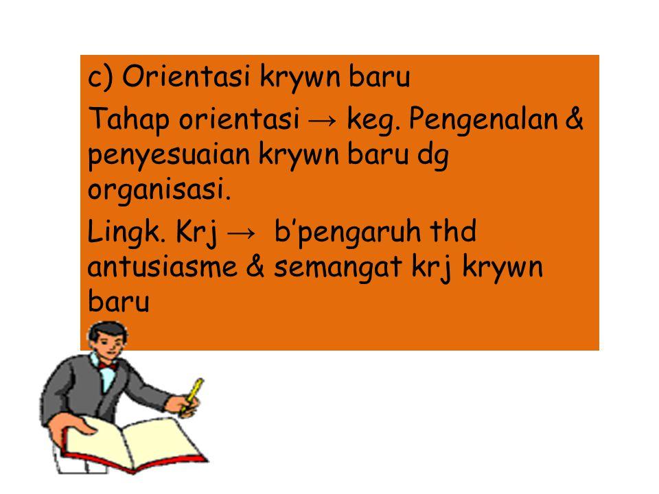 b) Seleksi personalia Seleksi → pemilihan se2orng ttt dr seklmpok krywn2 potensial u/ melaksanakan suatu jbtn ttt. prosedur seleksi : wawancara pndhlu