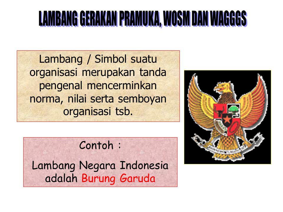 Contoh : Lambang Negara Indonesia adalah Burung Garuda Lambang / Simbol suatu organisasi merupakan tanda pengenal mencerminkan norma, nilai serta semboyan organisasi tsb.