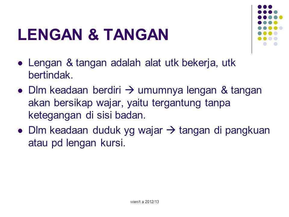 wien/t.a 2012/13 LENGAN & TANGAN Lengan & tangan adalah alat utk bekerja, utk bertindak. Dlm keadaan berdiri  umumnya lengan & tangan akan bersikap w