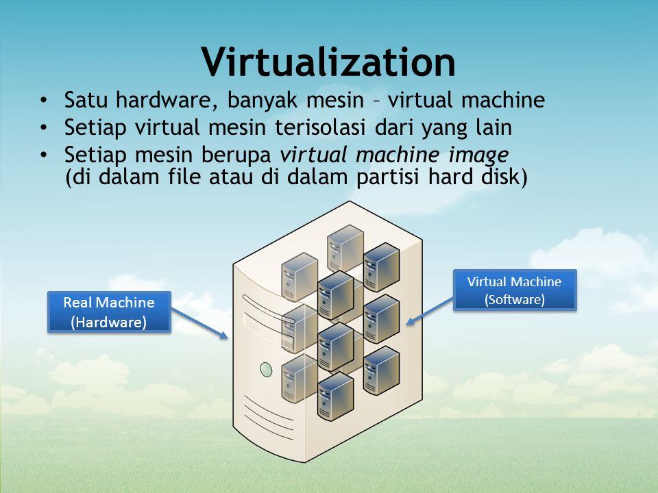 Virtualization Satu hardware, banyak mesin – virtual machine Setiap virtual mesin terisolasi dari yang lain Setiap mesin berupa virtual machine image