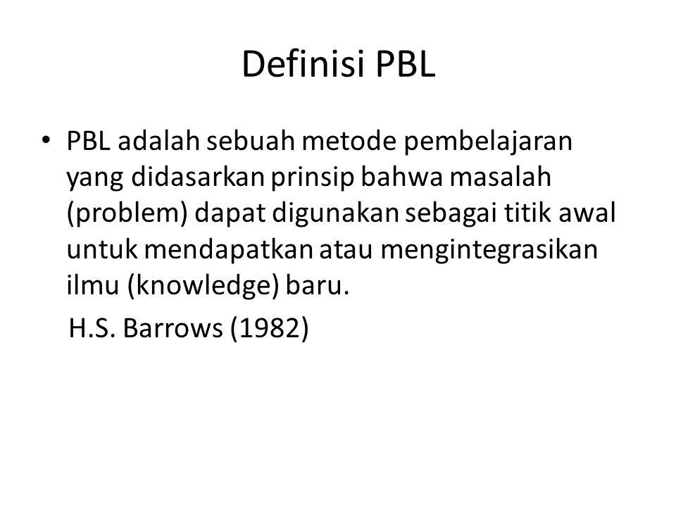 Definisi PBL PBL adalah sebuah metode pembelajaran yang didasarkan prinsip bahwa masalah (problem) dapat digunakan sebagai titik awal untuk mendapatka
