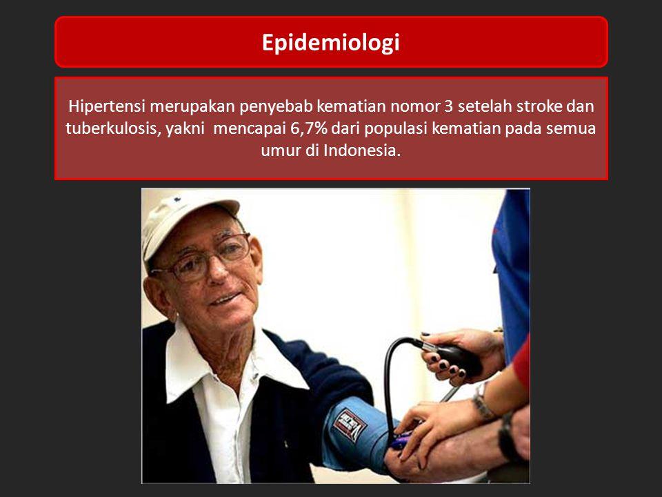 Hipertensi merupakan penyebab kematian nomor 3 setelah stroke dan tuberkulosis, yakni mencapai 6,7% dari populasi kematian pada semua umur di Indonesia.