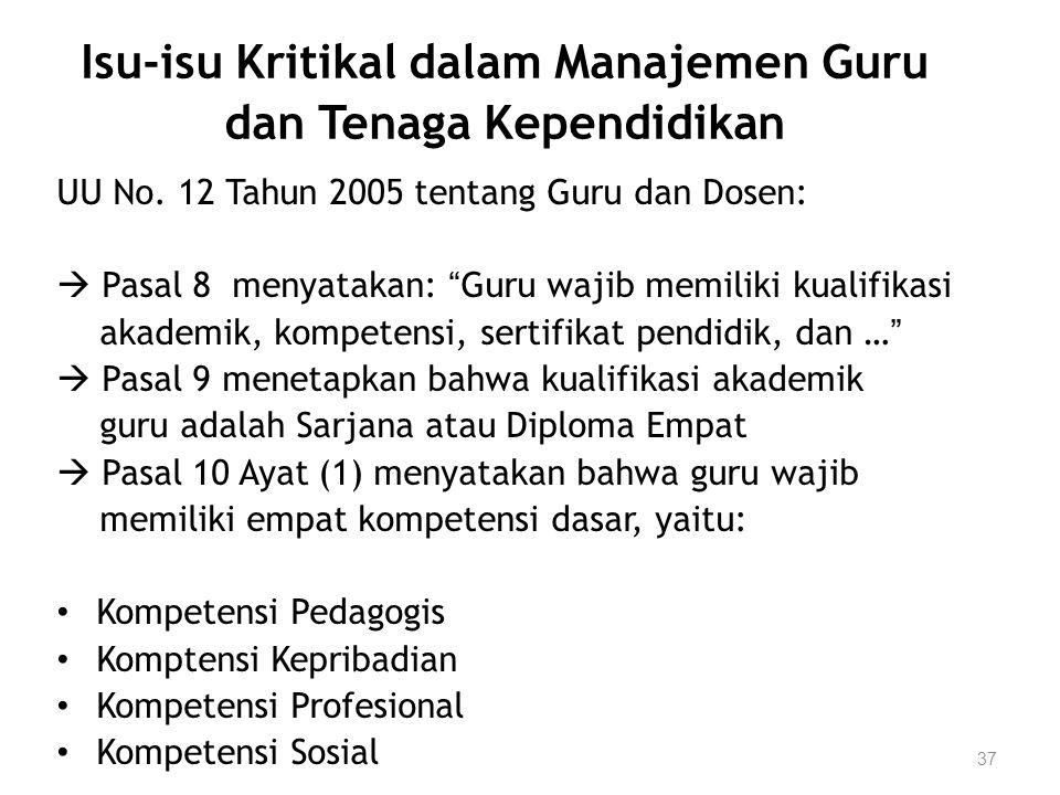 """37 Isu-isu Kritikal dalam Manajemen Guru dan Tenaga Kependidikan UU No. 12 Tahun 2005 tentang Guru dan Dosen:  Pasal 8 menyatakan: """"Guru wajib memili"""