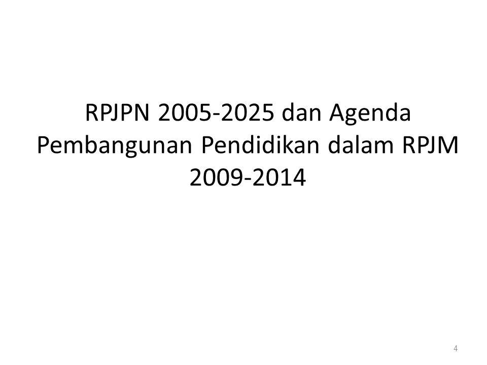 RPJPN 2005-2025 dan Agenda Pembangunan Pendidikan dalam RPJM 2009-2014 4