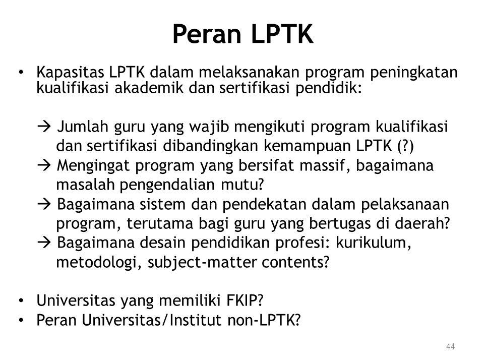44 Peran LPTK Kapasitas LPTK dalam melaksanakan program peningkatan kualifikasi akademik dan sertifikasi pendidik:  Jumlah guru yang wajib mengikuti