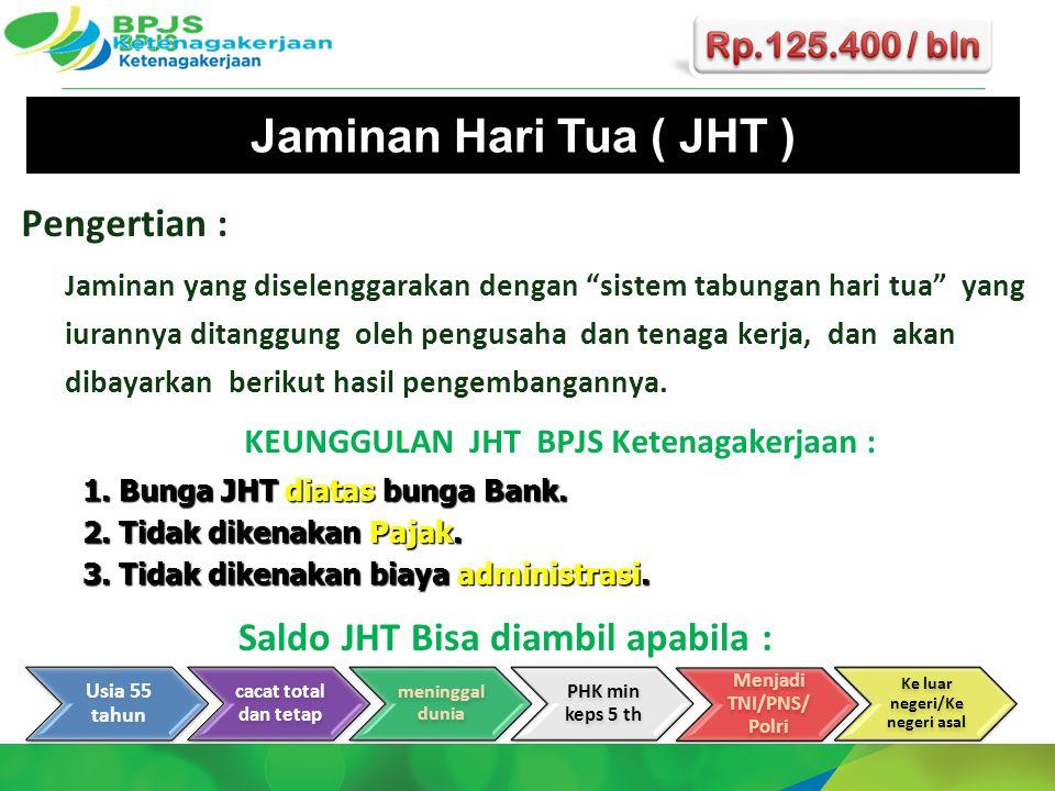 """Jaminan Hari Tua ( JHT ) Pengertian : Jaminan yang diselenggarakan dengan """"sistem tabungan hari tua"""" yang iurannya ditanggung oleh pengusaha dan tenag"""