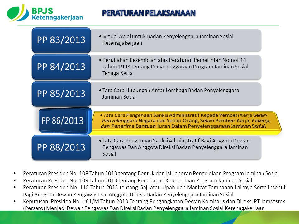 Peraturan Presiden No. 108 Tahun 2013 tentang Bentuk dan Isi Laporan Pengelolaan Program Jaminan Sosial Peraturan Presiden No. 109 Tahun 2013 tentang