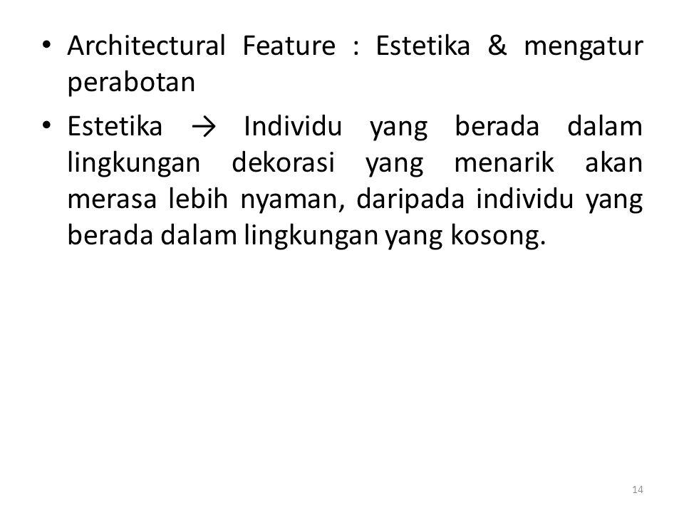 Architectural Feature : Estetika & mengatur perabotan Estetika → Individu yang berada dalam lingkungan dekorasi yang menarik akan merasa lebih nyaman, daripada individu yang berada dalam lingkungan yang kosong.