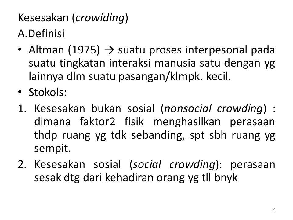 Kesesakan (crowiding) A.Definisi Altman (1975) → suatu proses interpesonal pada suatu tingkatan interaksi manusia satu dengan yg lainnya dlm suatu pasangan/klmpk.