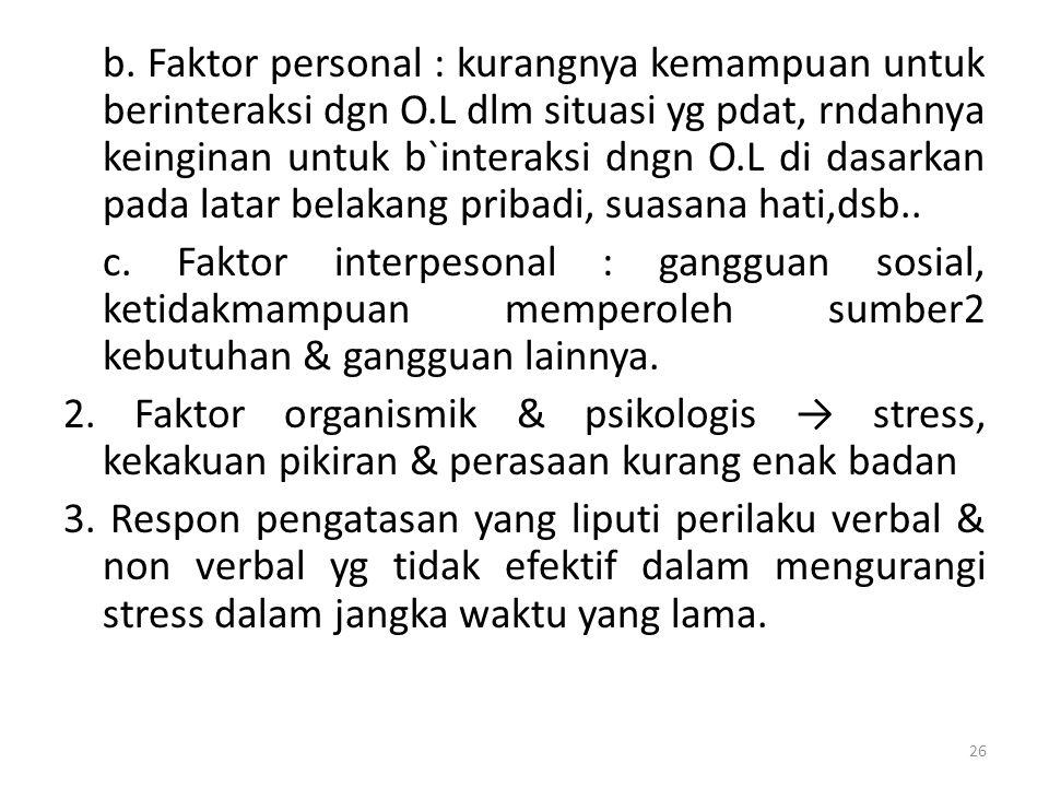 b. Faktor personal : kurangnya kemampuan untuk berinteraksi dgn O.L dlm situasi yg pdat, rndahnya keinginan untuk b`interaksi dngn O.L di dasarkan pad
