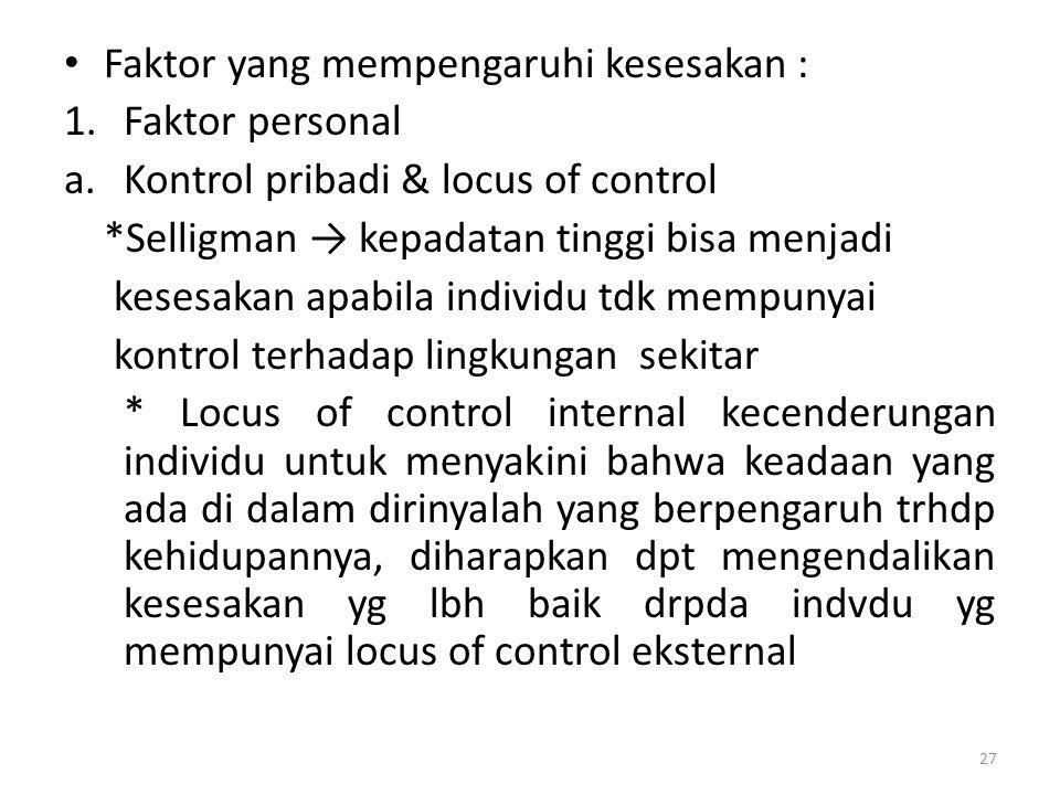 27 Faktor yang mempengaruhi kesesakan : 1.Faktor personal a.Kontrol pribadi & locus of control *Selligman → kepadatan tinggi bisa menjadi kesesakan ap
