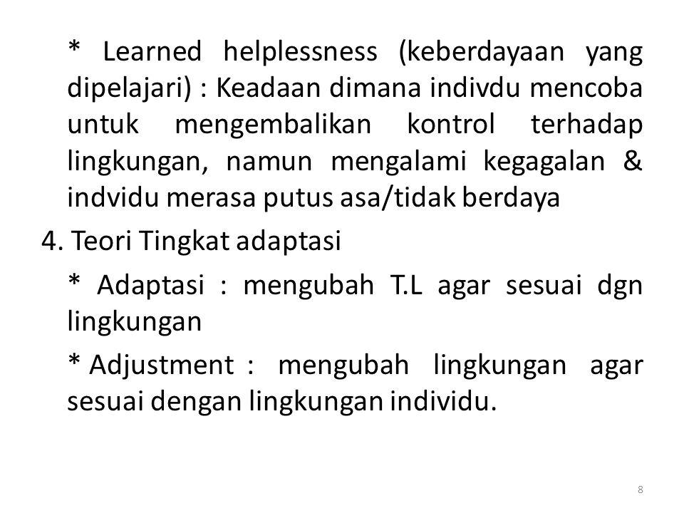 * Learned helplessness (keberdayaan yang dipelajari) : Keadaan dimana indivdu mencoba untuk mengembalikan kontrol terhadap lingkungan, namun mengalami kegagalan & indvidu merasa putus asa/tidak berdaya 4.
