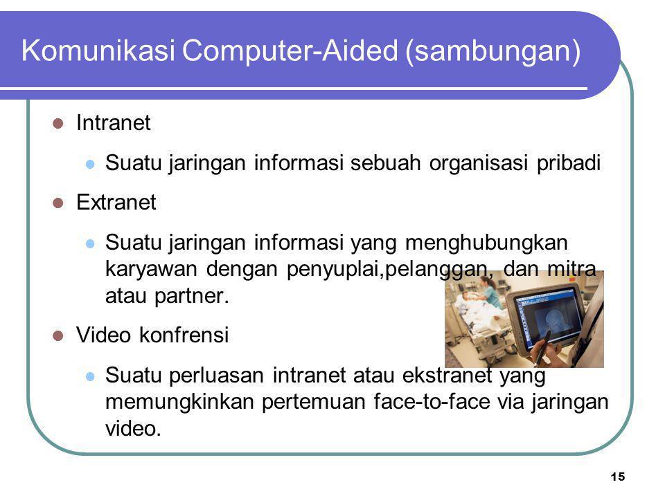 15 Komunikasi Computer-Aided (sambungan) Intranet Suatu jaringan informasi sebuah organisasi pribadi Extranet Suatu jaringan informasi yang menghubung