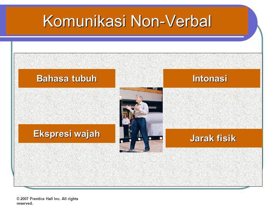Komunikasi Non-Verbal Bahasa tubuh Ekspresi wajah Intonasi © 2007 Prentice Hall Inc. All rights reserved. Jarak fisik