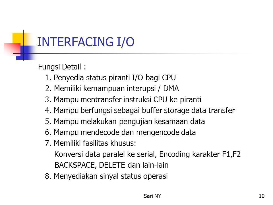 Sari NY10 INTERFACING I/O Fungsi Detail : 1.Penyedia status piranti I/O bagi CPU 2.