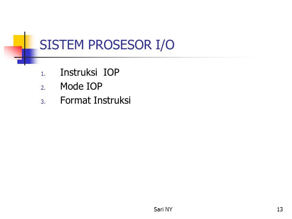 Sari NY13 SISTEM PROSESOR I/O 1. Instruksi IOP 2. Mode IOP 3. Format Instruksi